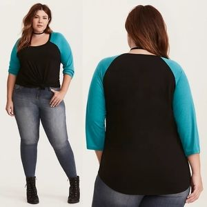 Torrid Black and Teal Raglan Tee Size 1